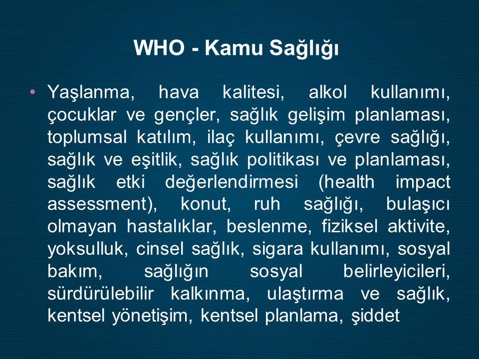 WHO - Kamu Sağlığı •Yaşlanma, hava kalitesi, alkol kullanımı, çocuklar ve gençler, sağlık gelişim planlaması, toplumsal katılım, ilaç kullanımı, çevre