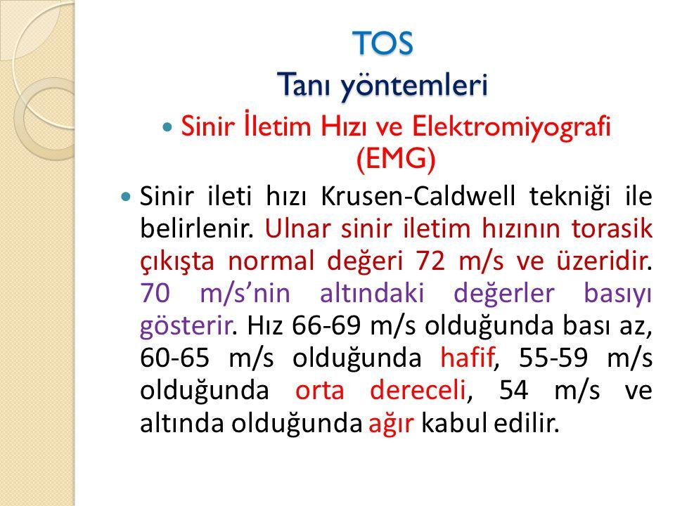 TOS Tanı yöntemleri  Sinir İ letim Hızı ve Elektromiyografi (EMG)  Sinir ileti hızı Krusen-Caldwell tekniği ile belirlenir.