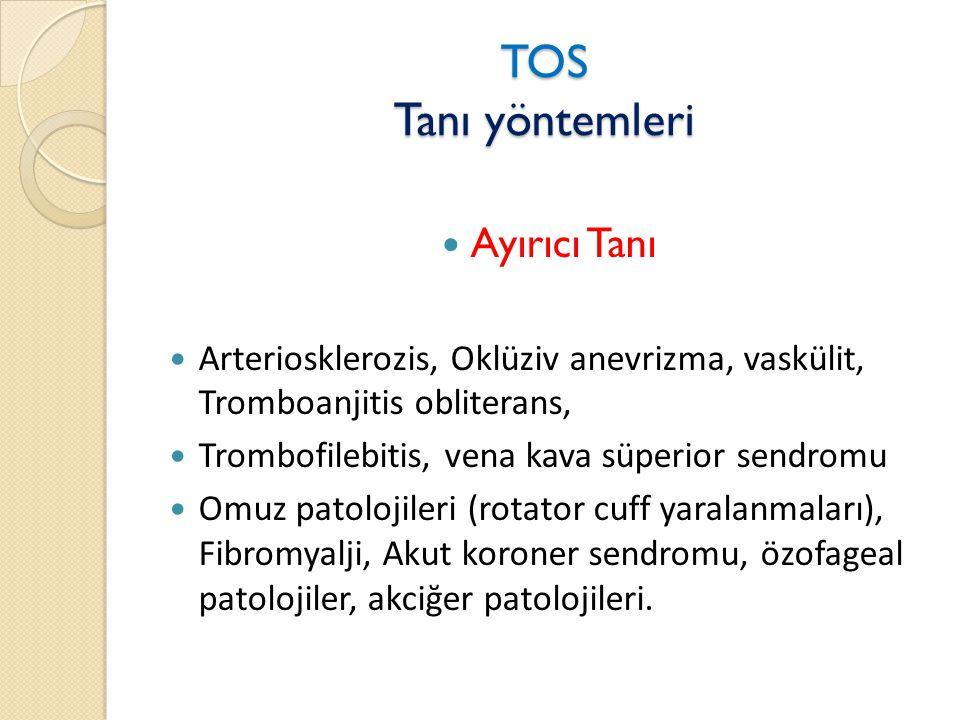 TOS Tanı yöntemleri  Ayırıcı Tanı  Arteriosklerozis, Oklüziv anevrizma, vaskülit, Tromboanjitis obliterans,  Trombofilebitis, vena kava süperior sendromu  Omuz patolojileri (rotator cuff yaralanmaları), Fibromyalji, Akut koroner sendromu, özofageal patolojiler, akciğer patolojileri.