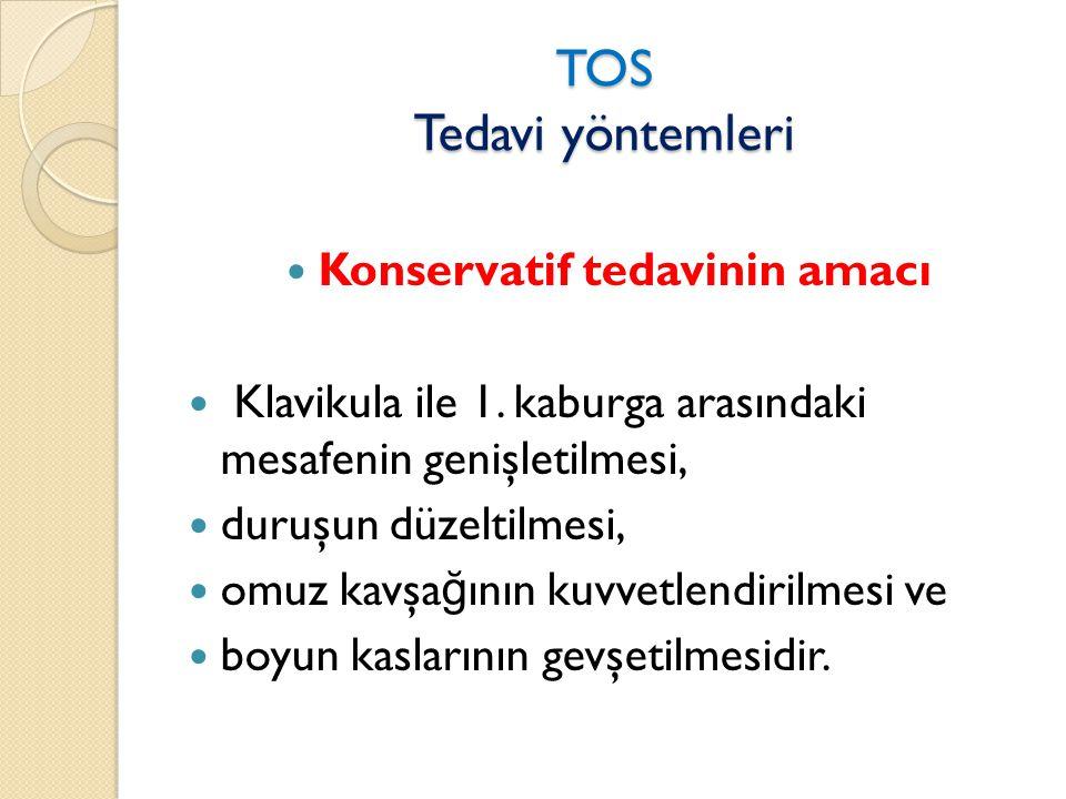 TOS Tedavi yöntemleri  Konservatif tedavinin amacı  Klavikula ile 1.