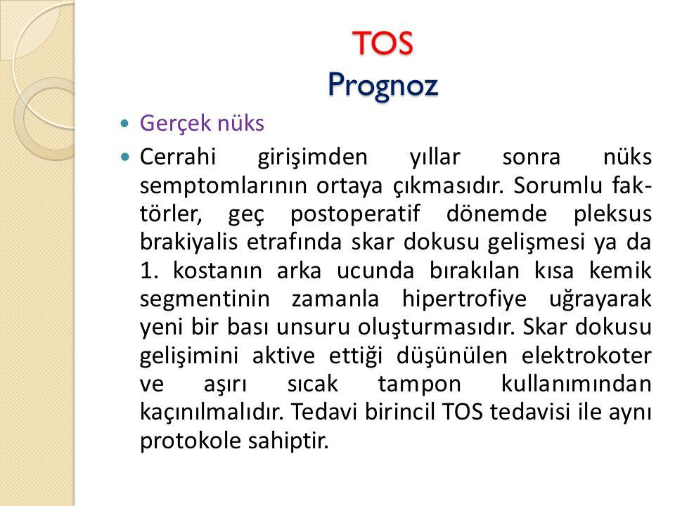TOS Prognoz  Gerçek nüks  Cerrahi girişimden yıllar sonra nüks semptomlarının ortaya çıkmasıdır.