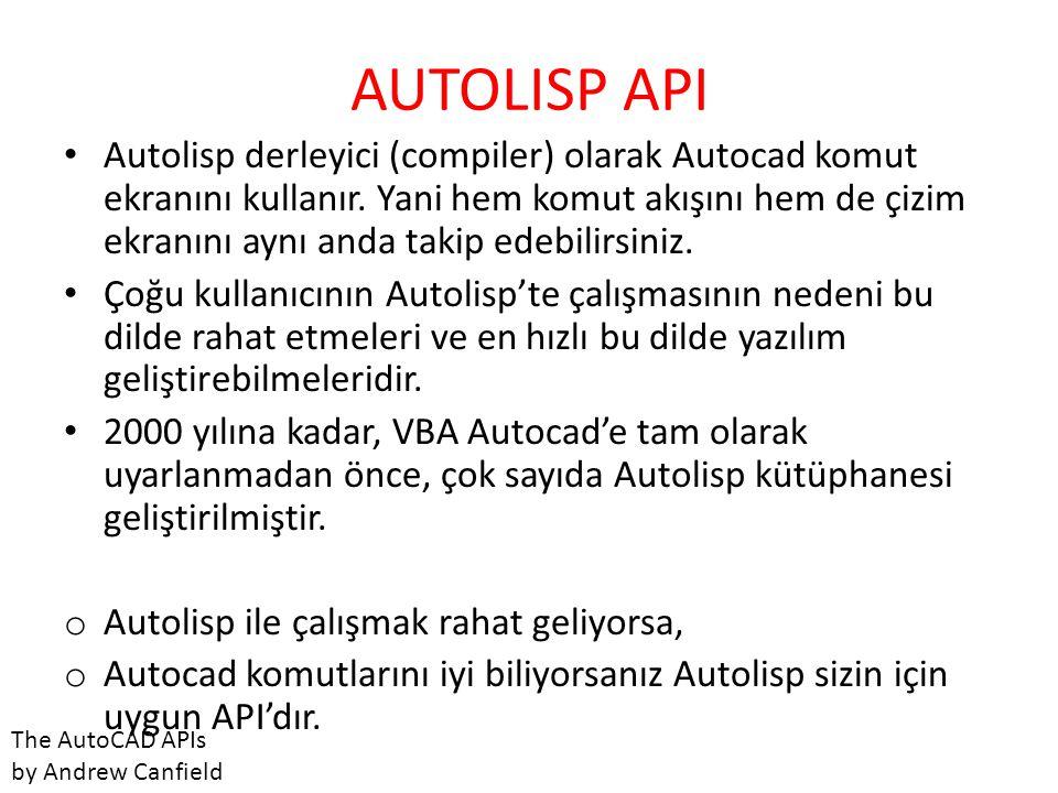 AUTOLISP API • Autolisp derleyici (compiler) olarak Autocad komut ekranını kullanır. Yani hem komut akışını hem de çizim ekranını aynı anda takip edeb