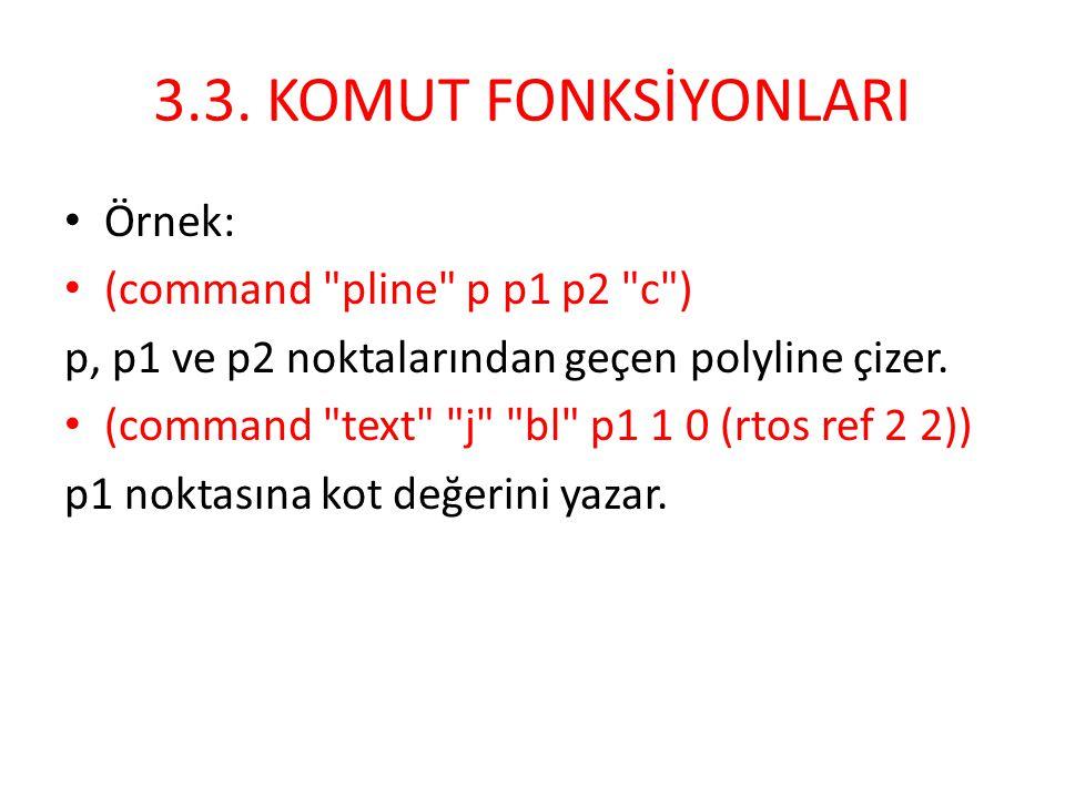 3.3. KOMUT FONKSİYONLARI • Örnek: • (command