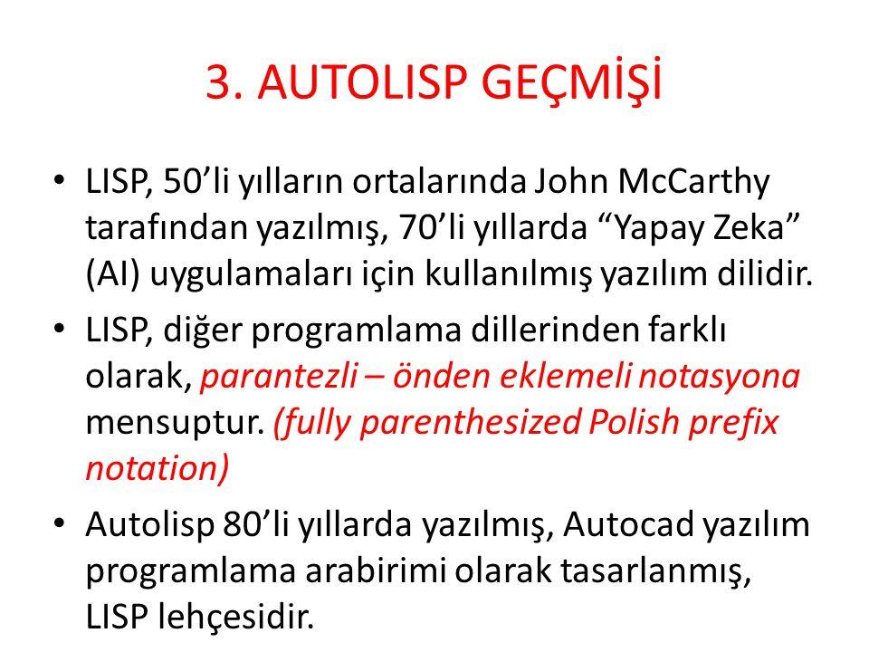 """3. AUTOLISP GEÇMİŞİ • LISP, 50'li yılların ortalarında John McCarthy tarafından yazılmış, 70'li yıllarda """"Yapay Zeka"""" (AI) uygulamaları için kullanılm"""