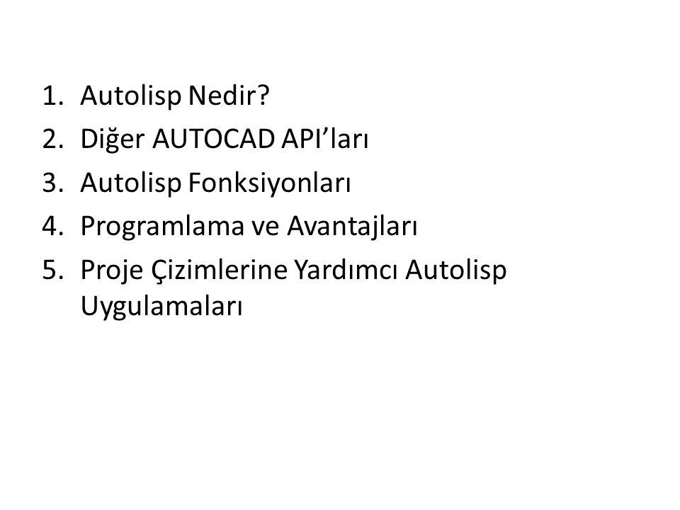1.Autolisp Nedir? 2.Diğer AUTOCAD API'ları 3.Autolisp Fonksiyonları 4.Programlama ve Avantajları 5.Proje Çizimlerine Yardımcı Autolisp Uygulamaları