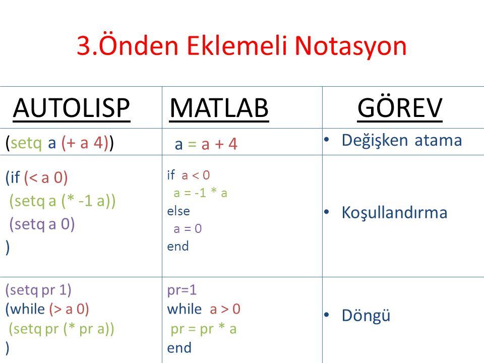 3.Önden Eklemeli Notasyon (setq a (+ a 4)) a = a + 4 AUTOLISPMATLABGÖREV • Değişken atama (if (< a 0) (setq a (* -1 a)) (setq a 0) ) if a < 0 a = -1 *