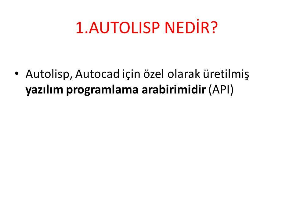 1.AUTOLISP NEDİR? • Autolisp, Autocad için özel olarak üretilmiş yazılım programlama arabirimidir (API)