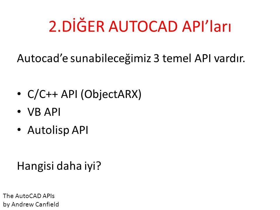 2.DİĞER AUTOCAD API'ları Autocad'e sunabileceğimiz 3 temel API vardır. • C/C++ API (ObjectARX) • VB API • Autolisp API Hangisi daha iyi? The AutoCAD A