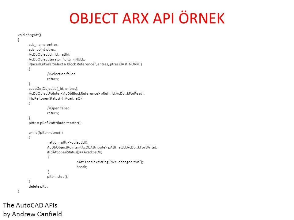 VB API • İlk defa Autocad arabirim yazılımı kullanacaklar için uygun.