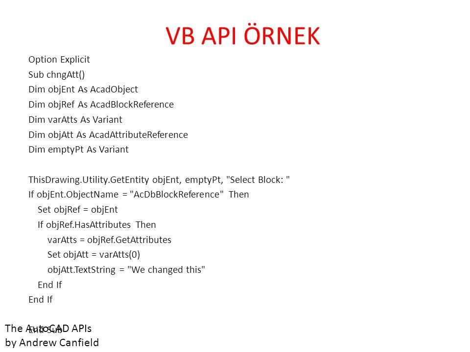 AUTOLISP API • Autolisp derleyici (compiler) olarak Autocad komut ekranını kullanır.