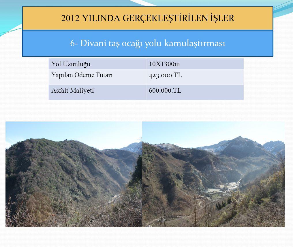 2012 YILINDA GERÇEKLEŞTİRİLEN İŞLER 6- Divani taş ocağı yolu kamulaştırması Yol Uzunluğu10X1300m Yapılan Ödeme Tutarı 423.000 TL Asfalt Maliyeti600.00