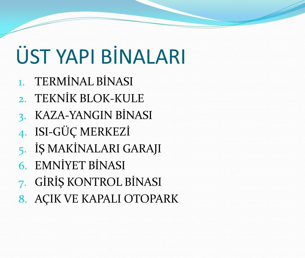 ÜST YAPI BİNALARI 1.TERMİNAL BİNASI 2. TEKNİK BLOK-KULE 3.