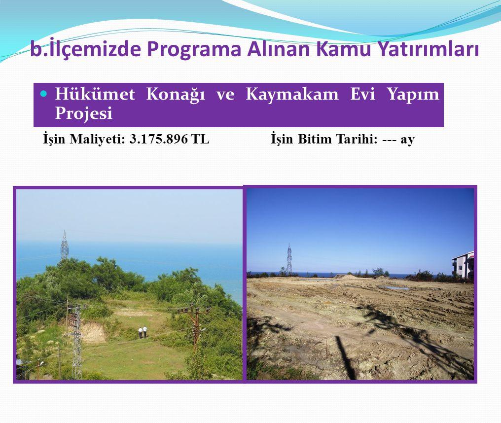 b.İlçemizde Programa Alınan Kamu Yatırımları  Hükümet Konağı ve Kaymakam Evi Yapım Projesi İşin Maliyeti: 3.175.896 TL İşin Bitim Tarihi: --- ay