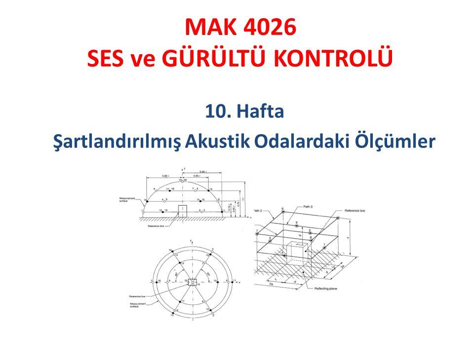 MAK 4026 SES ve GÜRÜLTÜ KONTROLÜ 10. Hafta Şartlandırılmış Akustik Odalardaki Ölçümler