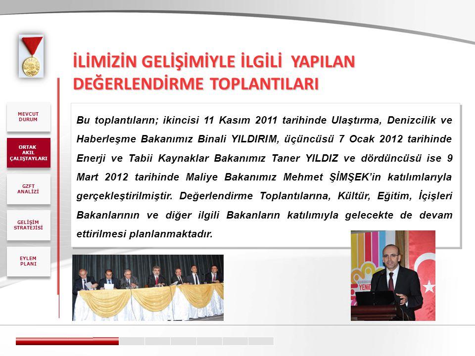 İLİMİZİN GELİŞİMİYLE İLGİLİ YAPILAN DEĞERLENDİRME TOPLANTILARI Bu toplantıların; ikincisi 11 Kasım 2011 tarihinde Ulaştırma, Denizcilik ve Haberleşme