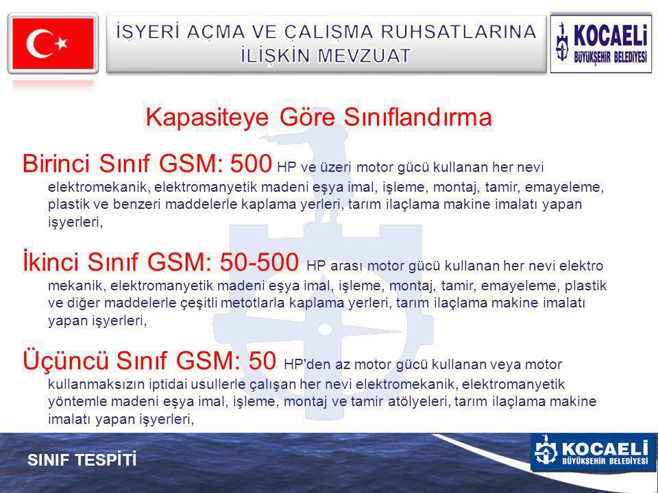 SINIF TESPİTİ Kapasiteye Göre Sınıflandırma Birinci Sınıf GSM: 500 HP ve üzeri motor gücü kullanan her nevi elektromekanik, elektromanyetik madeni eşy
