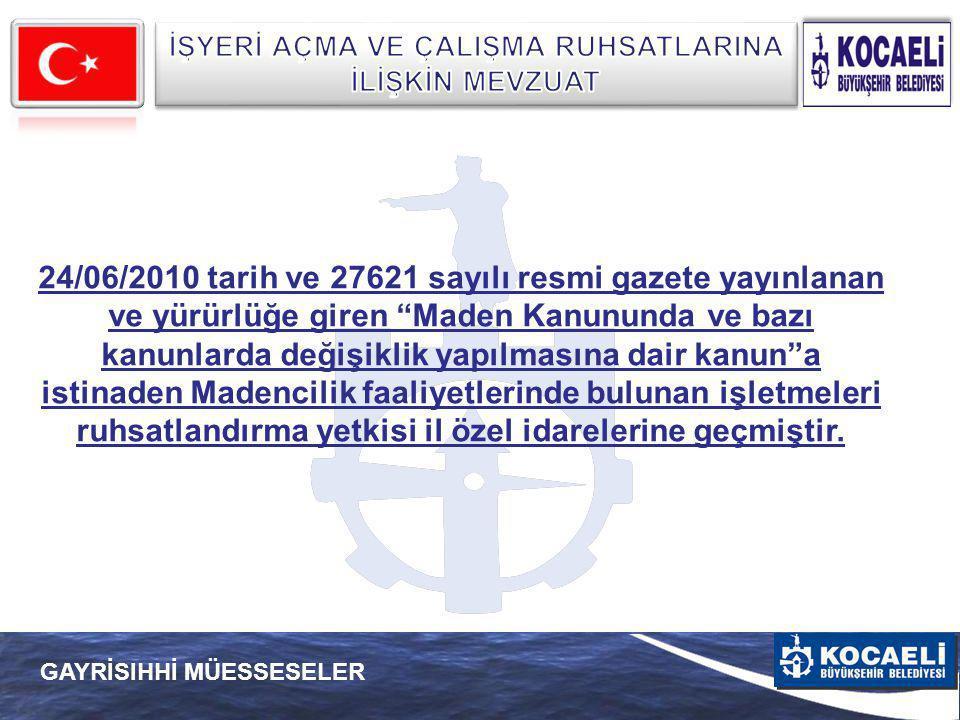 """24/06/2010 tarih ve 27621 sayılı resmi gazete yayınlanan ve yürürlüğe giren """"Maden Kanununda ve bazı kanunlarda değişiklik yapılmasına dair kanun""""a is"""