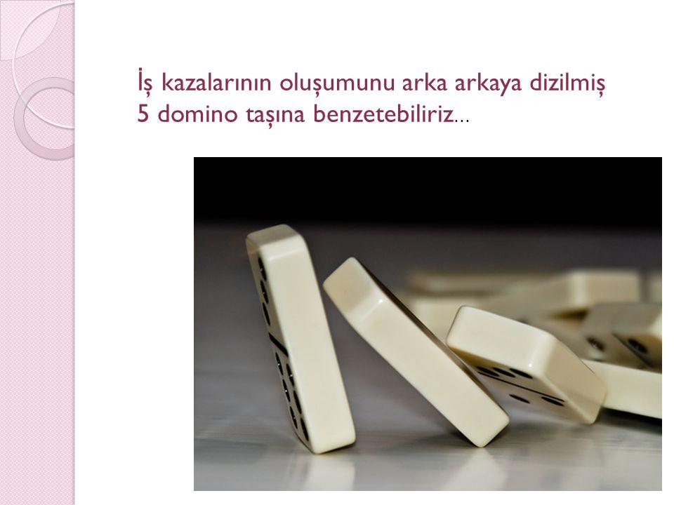 İ ş kazalarının oluşumunu arka arkaya dizilmiş 5 domino taşına benzetebiliriz …