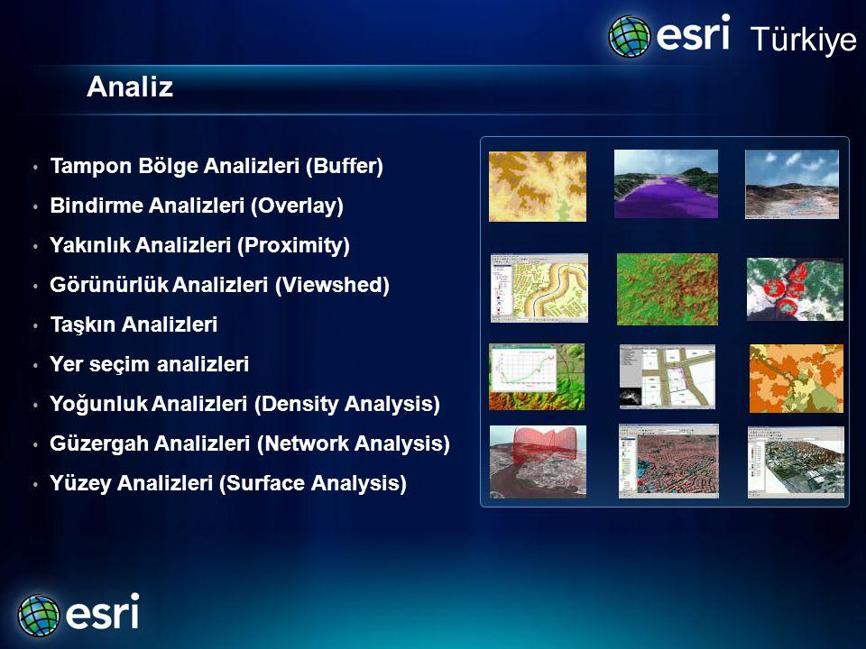 Analiz Türkiye • Tampon Bölge Analizleri (Buffer) • Bindirme Analizleri (Overlay) • Yakınlık Analizleri (Proximity) • Görünürlük Analizleri (Viewshed) • Taşkın Analizleri • Yer seçim analizleri • Yoğunluk Analizleri (Density Analysis) • Güzergah Analizleri (Network Analysis) • Yüzey Analizleri (Surface Analysis)