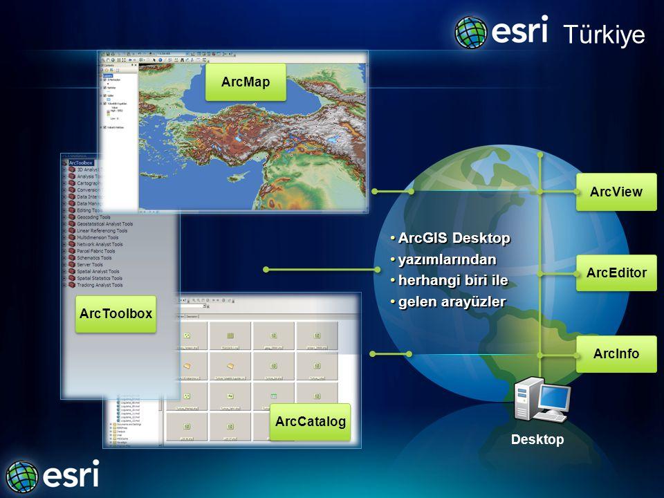 Türkiye ArcView ArcEditor ArcInfo •ArcGIS Desktop •yazımlarından •herhangi biri ile •gelen arayüzler Desktop ArcMap ArcToolbox ArcCatalog