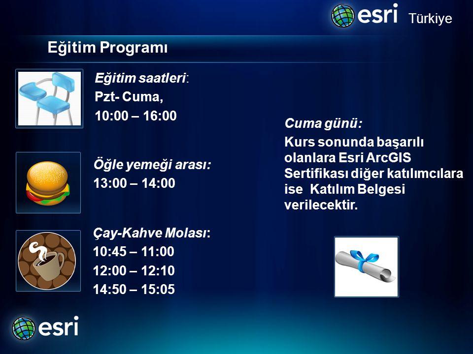 Eğitim Programı Türkiye Öğle yemeği arası: 13:00 – 14:00 Çay-Kahve Molası: 10:45 – 11:00 12:00 – 12:10 14:50 – 15:05.. Cuma günü: Kurs sonunda başarıl