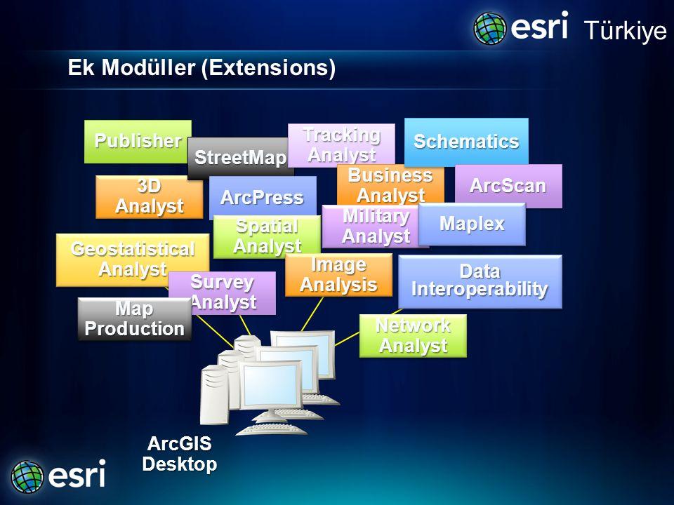 Ek Modüller (Extensions) PublisherPublisher 3D Analyst GeostatisticalAnalystGeostatisticalAnalyst StreetMapStreetMap ArcPressArcPress SpatialAnalystSp