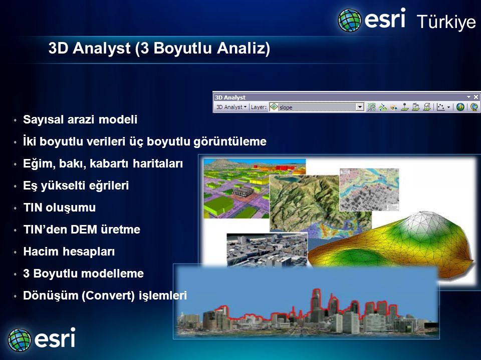 3D Analyst (3 Boyutlu Analiz) • Sayısal arazi modeli • İki boyutlu verileri üç boyutlu görüntüleme • Eğim, bakı, kabartı haritaları • Eş yükselti eğrileri • TIN oluşumu • TIN'den DEM üretme • Hacim hesapları • 3 Boyutlu modelleme • Dönüşüm (Convert) işlemleri Türkiye