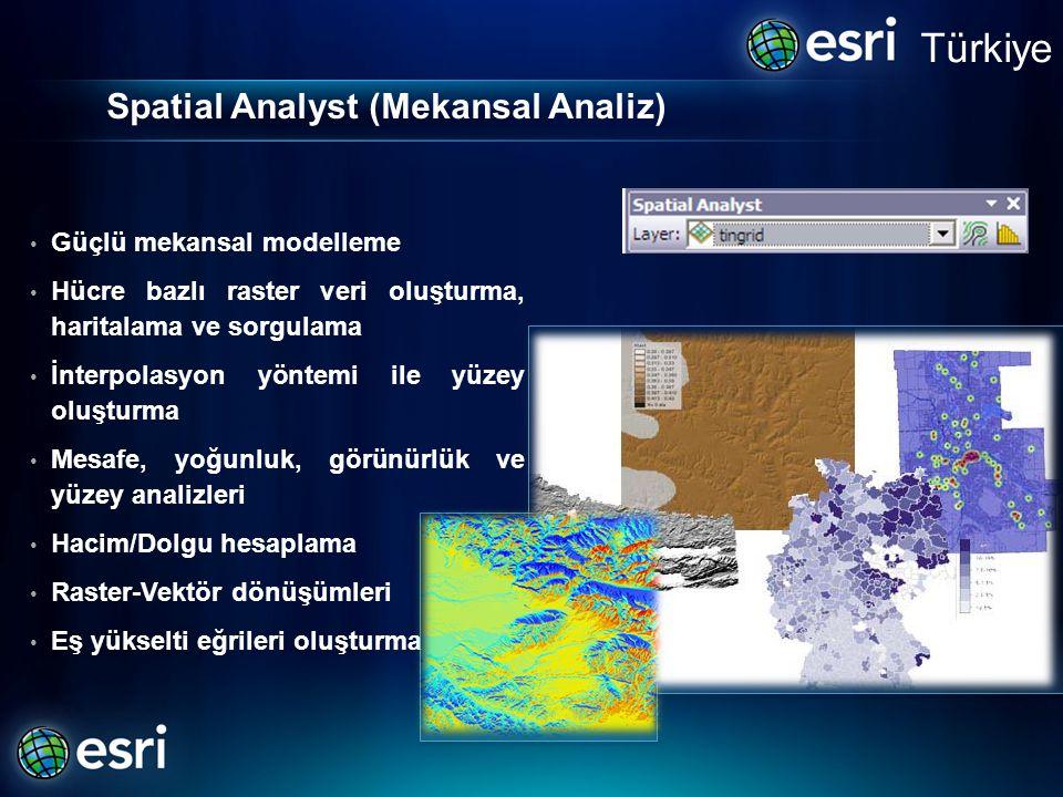 Spatial Analyst (Mekansal Analiz) • Güçlü mekansal modelleme • Hücre bazlı raster veri oluşturma, haritalama ve sorgulama • İnterpolasyon yöntemi ile yüzey oluşturma • Mesafe, yoğunluk, görünürlük ve yüzey analizleri • Hacim/Dolgu hesaplama • Raster-Vektör dönüşümleri • Eş yükselti eğrileri oluşturma Türkiye