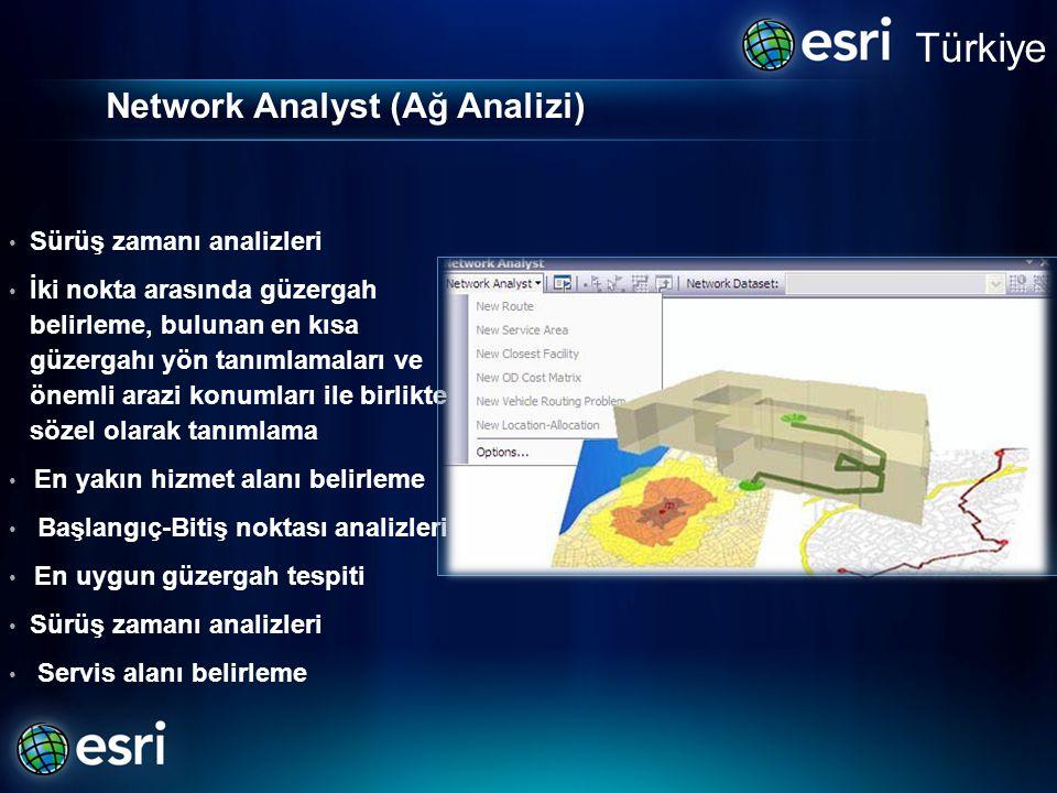 Network Analyst (Ağ Analizi) • Sürüş zamanı analizleri • İki nokta arasında güzergah belirleme, bulunan en kısa güzergahı yön tanımlamaları ve önemli arazi konumları ile birlikte sözel olarak tanımlama • En yakın hizmet alanı belirleme • Başlangıç-Bitiş noktası analizleri • En uygun güzergah tespiti • Sürüş zamanı analizleri • Servis alanı belirleme Türkiye