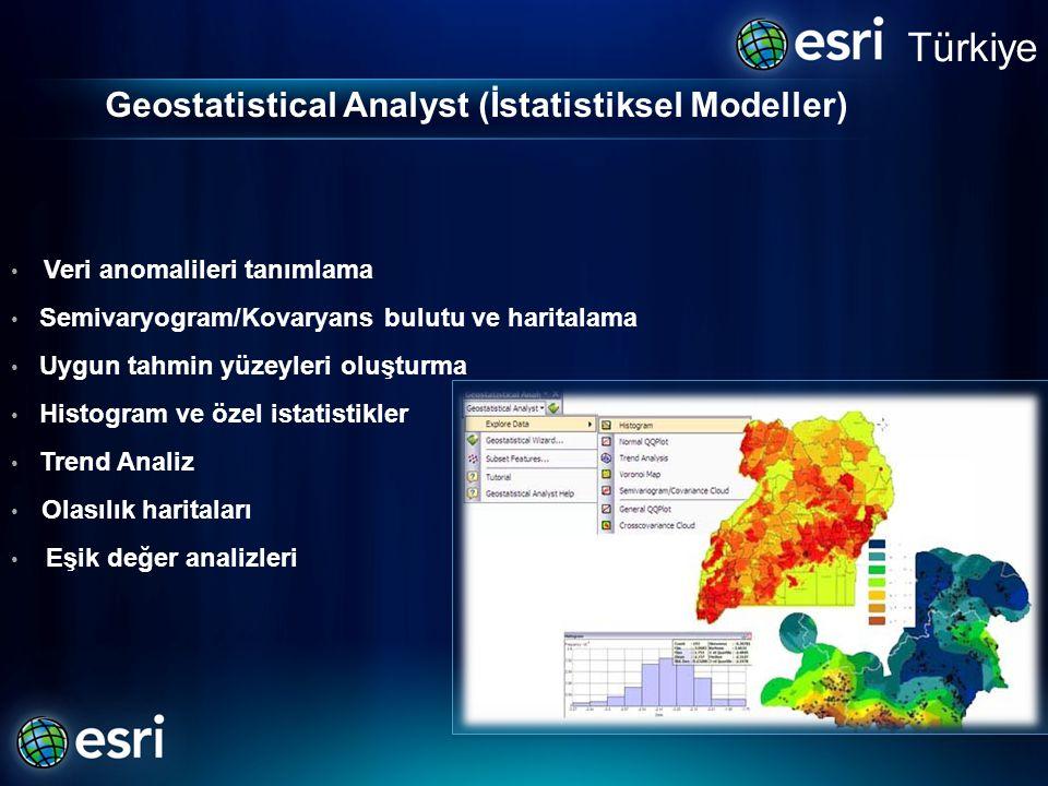 Geostatistical Analyst (İstatistiksel Modeller) • Veri anomalileri tanımlama • Semivaryogram/Kovaryans bulutu ve haritalama • Uygun tahmin yüzeyleri oluşturma • Histogram ve özel istatistikler • Trend Analiz • Olasılık haritaları • Eşik değer analizleri Türkiye