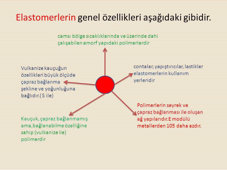 Elastomerlerin genel özellikleri aşağıdaki gibidir.