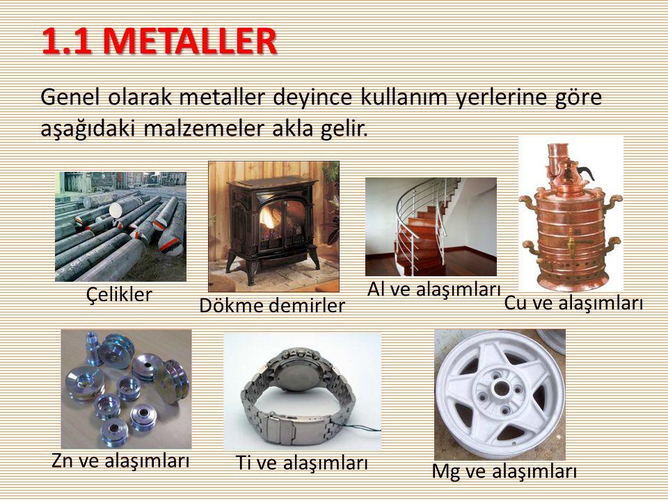 1.1 METALLER Genel olarak metaller deyince kullanım yerlerine göre aşağıdaki malzemeler akla gelir.