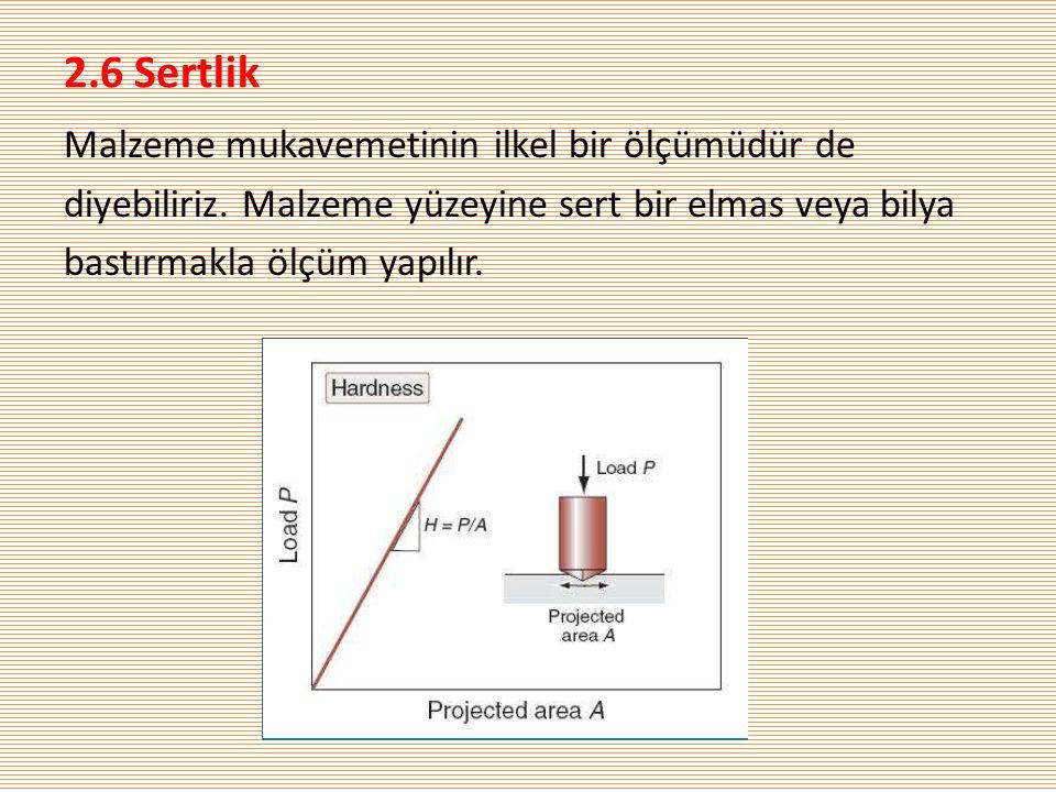 2.6 Sertlik Malzeme mukavemetinin ilkel bir ölçümüdür de diyebiliriz.