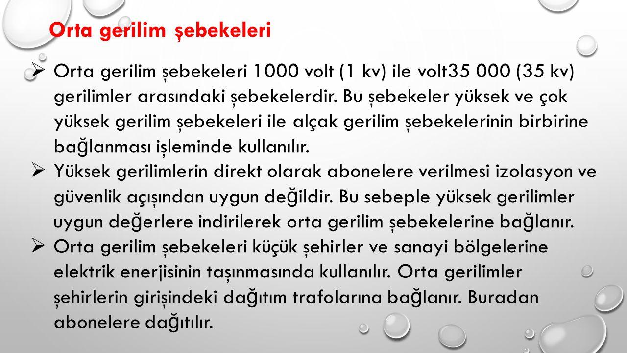 Orta gerilim şebekeleri  Orta gerilim şebekeleri 1000 volt (1 kv) ile volt35 000 (35 kv) gerilimler arasındaki şebekelerdir.