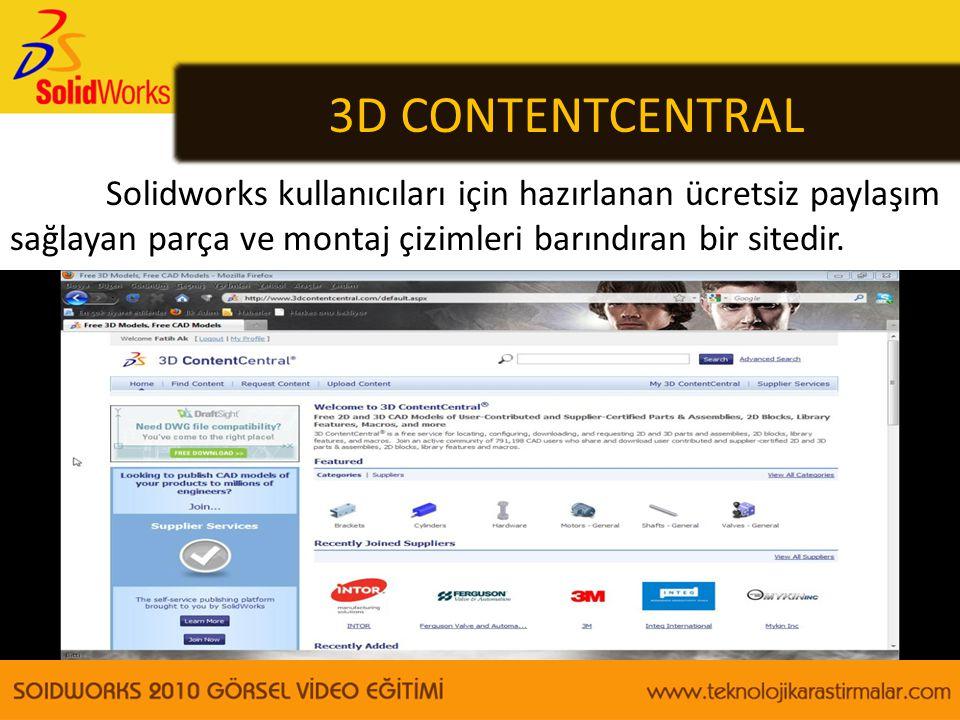 3D CONTENTCENTRAL Solidworks kullanıcıları için hazırlanan ücretsiz paylaşım sağlayan parça ve montaj çizimleri barındıran bir sitedir.