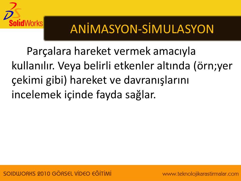 ANİMASYON-SİMULASYON Parçalara hareket vermek amacıyla kullanılır. Veya belirli etkenler altında (örn;yer çekimi gibi) hareket ve davranışlarını incel