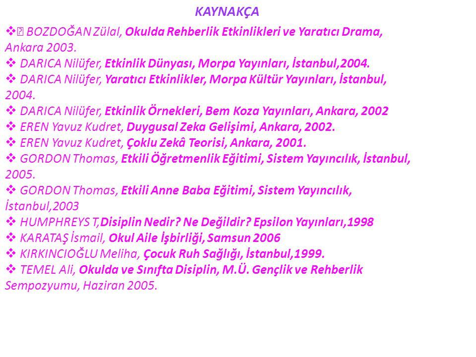 KAYNAKÇA  BOZDOĞAN Zülal, Okulda Rehberlik Etkinlikleri ve Yaratıcı Drama, Ankara 2003.