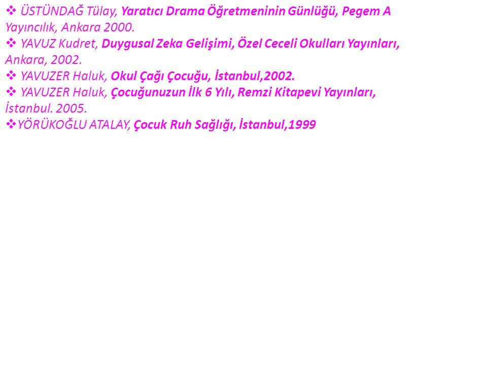  ÜSTÜNDAĞ Tülay, Yaratıcı Drama Öğretmeninin Günlüğü, Pegem A Yayıncılık, Ankara 2000.