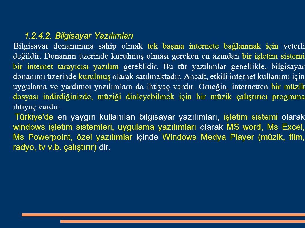 1.2.4.3.Internet Servis Sağlayıcıları (ISS) İSS internete erişim sağlayan bir işletmedir.