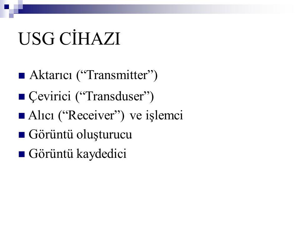 """USG CİHAZI  Aktarıcı (""""Transmitter"""")  Çevirici (""""Transduser"""")  Alıcı (""""Receiver"""") ve işlemci  Görüntü oluşturucu  Görüntü kaydedici"""