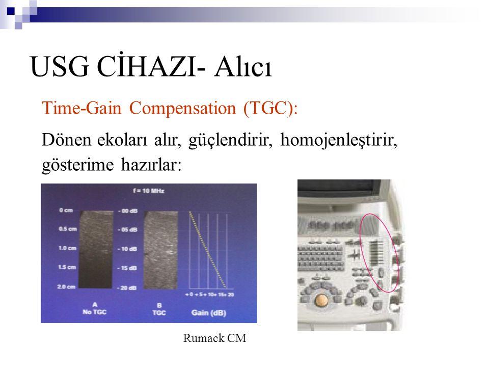 USG CİHAZI- Alıcı Time-Gain Compensation (TGC): Dönen ekoları alır, güçlendirir, homojenleştirir, gösterime hazırlar: Rumack CM