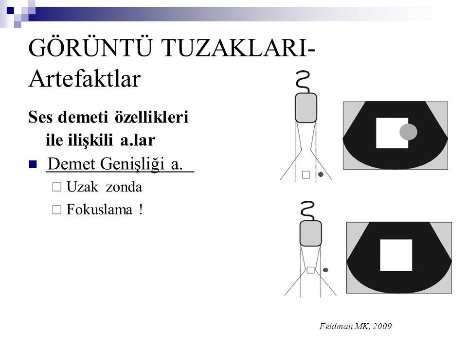 GÖRÜNTÜ TUZAKLARI- Artefaktlar Ses demeti özellikleri ile ilişkili a.lar  Demet Genişliği a.  Uzakzonda  Fokuslama ! Feldman MK, 2009