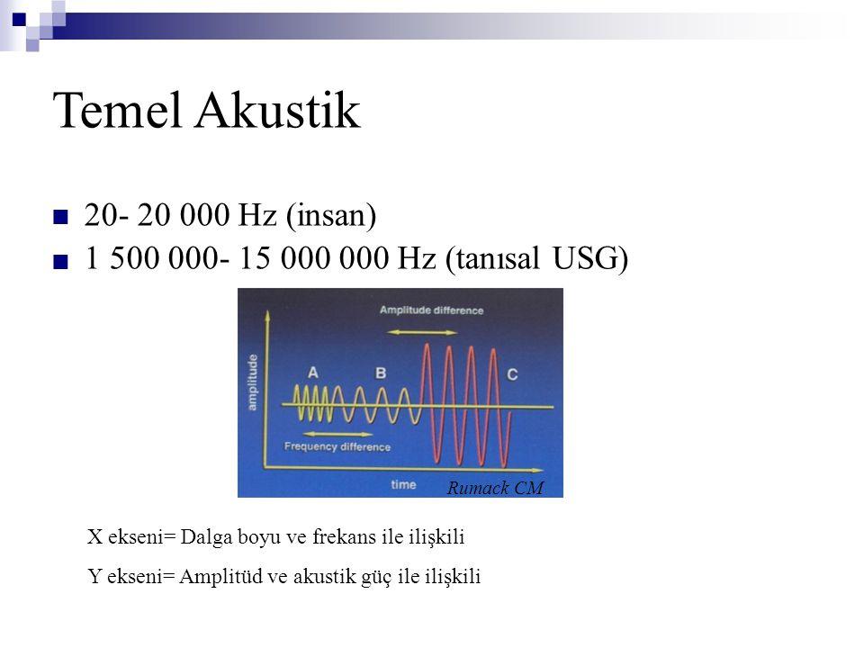 Temel Akustik  20- 20 000 Hz (insan) 1 500 000- 15 000 000 Hz (tanısal USG) Rumack CM X ekseni= Dalga boyu ve frekans ile ilişkili Y ekseni= Ampli