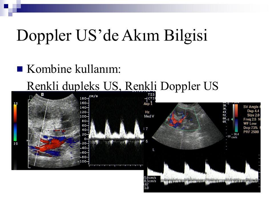 Doppler US'de Akım Bilgisi  Kombine kullanım: Renkli dupleks US, Renkli Doppler US