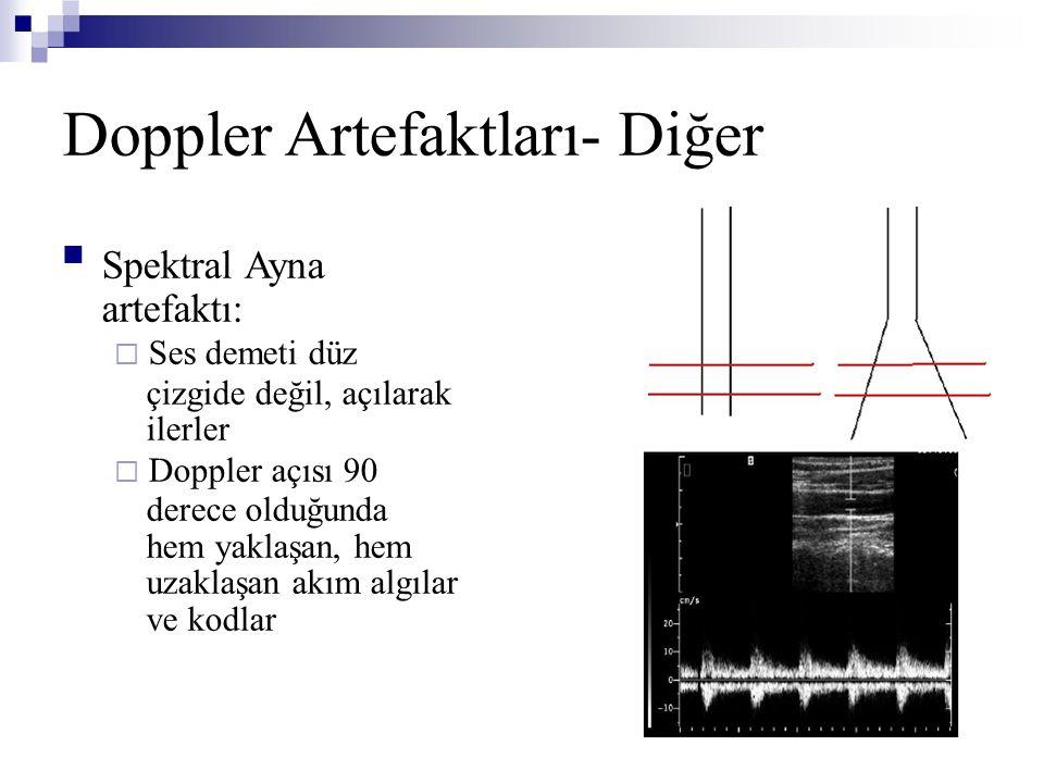 Doppler Artefaktları- Diğer  Spektral Ayna artefaktı:  Ses demeti düz çizgide değil, açılarak ilerler  Doppler açısı 90 derece olduğunda hem yaklaş