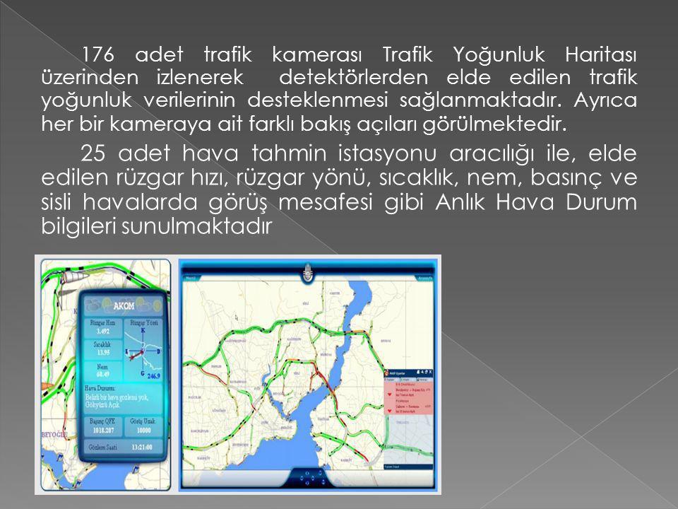 176 adet trafik kamerası Trafik Yoğunluk Haritası üzerinden izlenerek detektörlerden elde edilen trafik yoğunluk verilerinin desteklenmesi sağlanmaktadır.