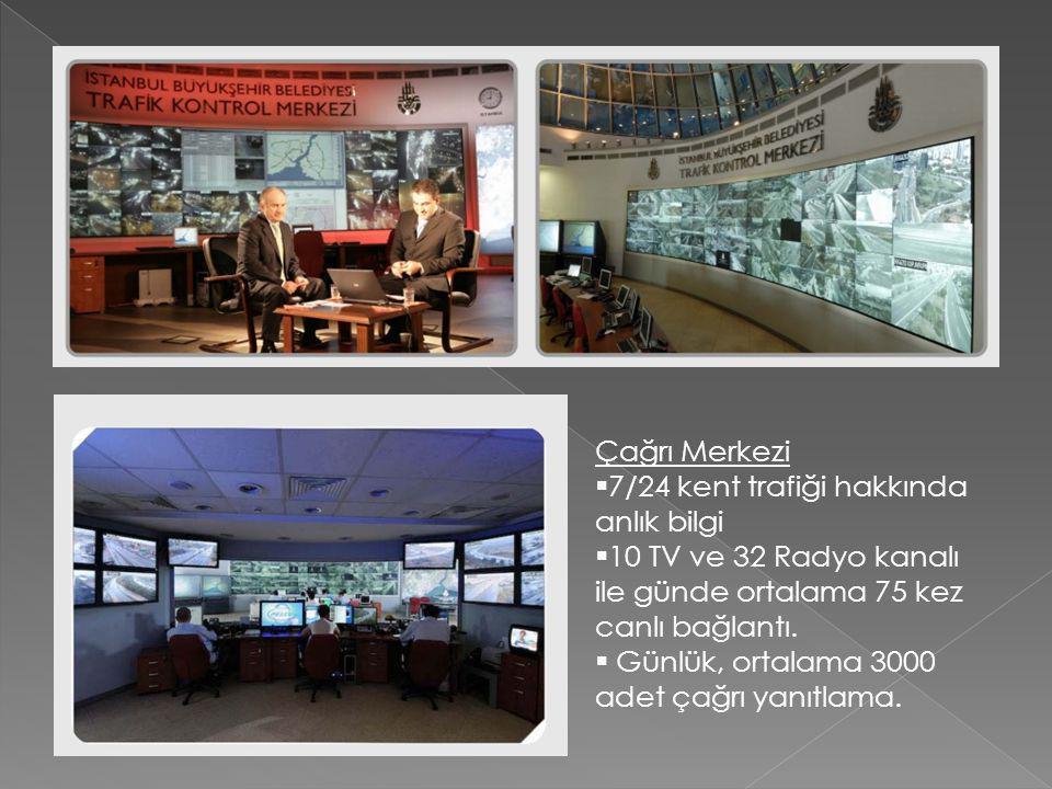 Çağrı Merkezi  7/24 kent trafiği hakkında anlık bilgi  10 TV ve 32 Radyo kanalı ile günde ortalama 75 kez canlı bağlantı.
