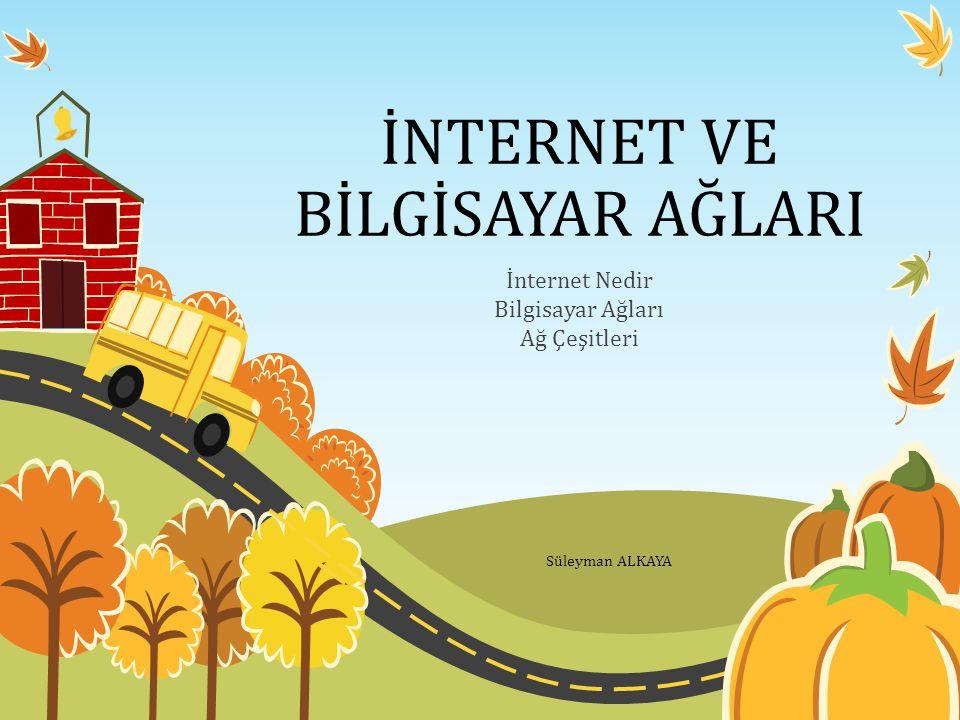 İNTERNET VE BİLGİSAYAR AĞLARI İnternet Nedir Bilgisayar Ağları Ağ Çeşitleri Süleyman ALKAYA