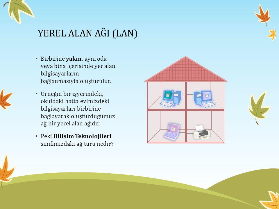 YEREL ALAN AĞI (LAN) • Birbirine yakın, aynı oda veya bina içerisinde yer alan bilgisayarların bağlanmasıyla oluşturulur.