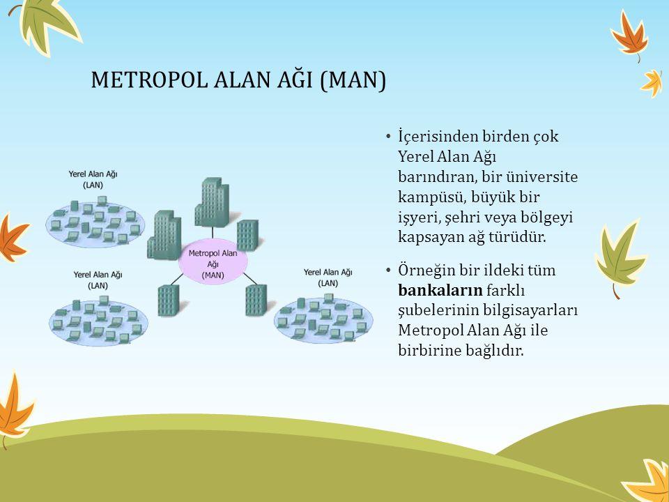 METROPOL ALAN AĞI (MAN) • İçerisinden birden çok Yerel Alan Ağı barındıran, bir üniversite kampüsü, büyük bir işyeri, şehri veya bölgeyi kapsayan ağ türüdür.